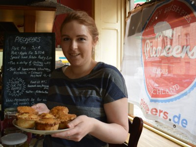 Laura from Pieoneers with her pork pies
