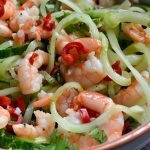 Cucumber noodles with spicy prawns